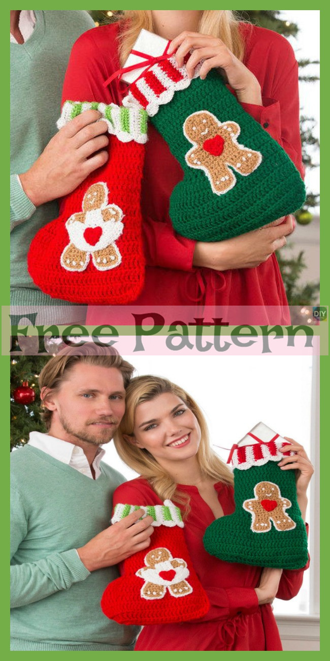 diy4ever-Crochet Sweet Gingerbread Stockings - Free Pattern