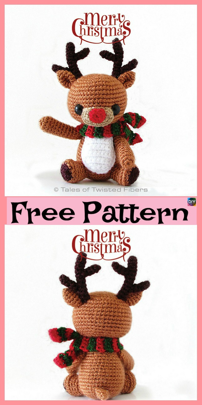 diy4ever-Cute Crochet Holiday Deer - Free Patterns