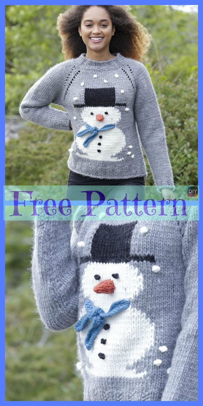 diy4ever-Knit Adorable Snowman Sweater - Free Patterns