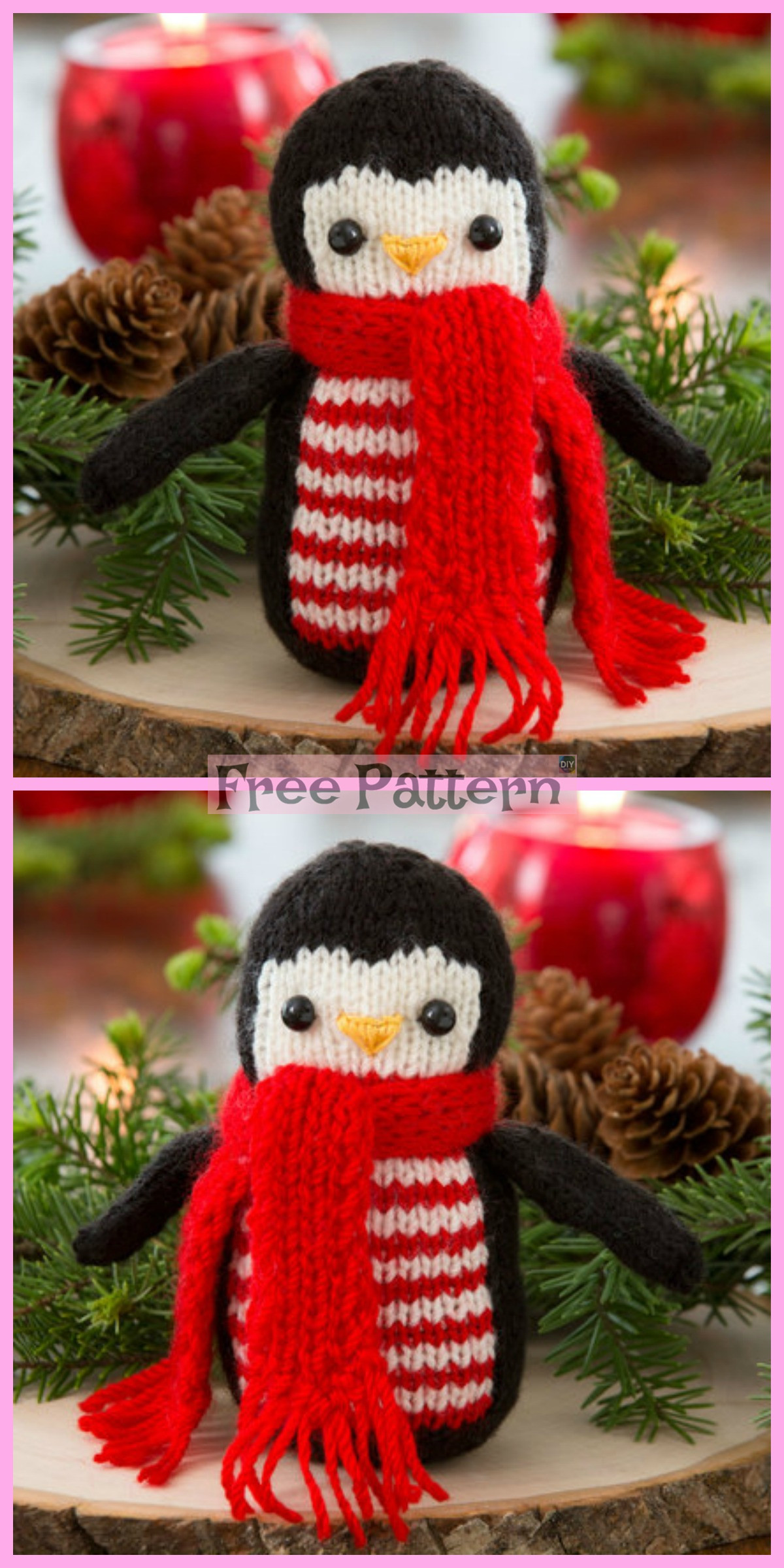 diy4ever-Knit Cheerful Holiday Penguin - Free Pattern