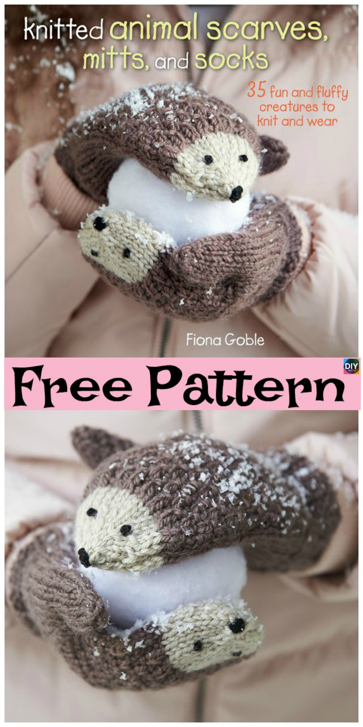 diy4ever-Knit Hedgehog Mittens - Free Pattern