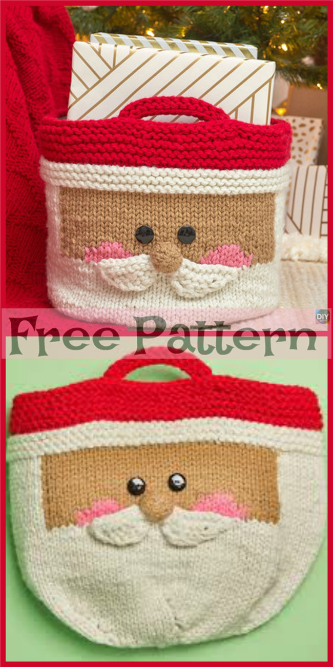 diy4ever-Knit Santa Basket - Free Pattern