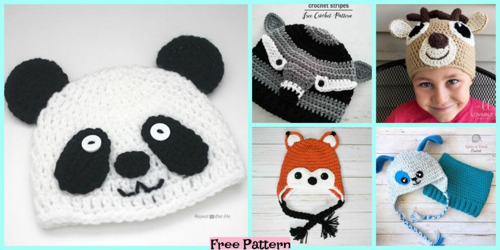 8 Adorable Crochet Animal Hats Free Patterns Diy 4 Ever