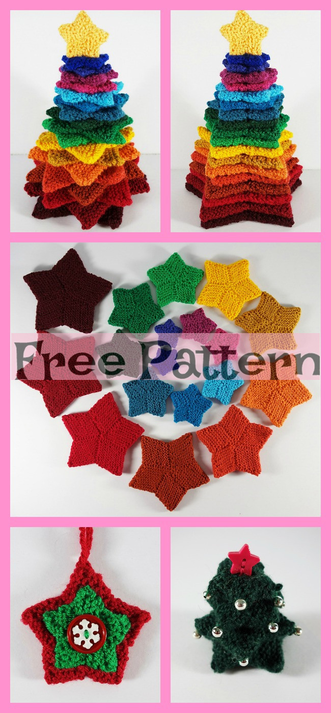 diy4ever-Colorful Knit Stacking Stars - Free Pattern
