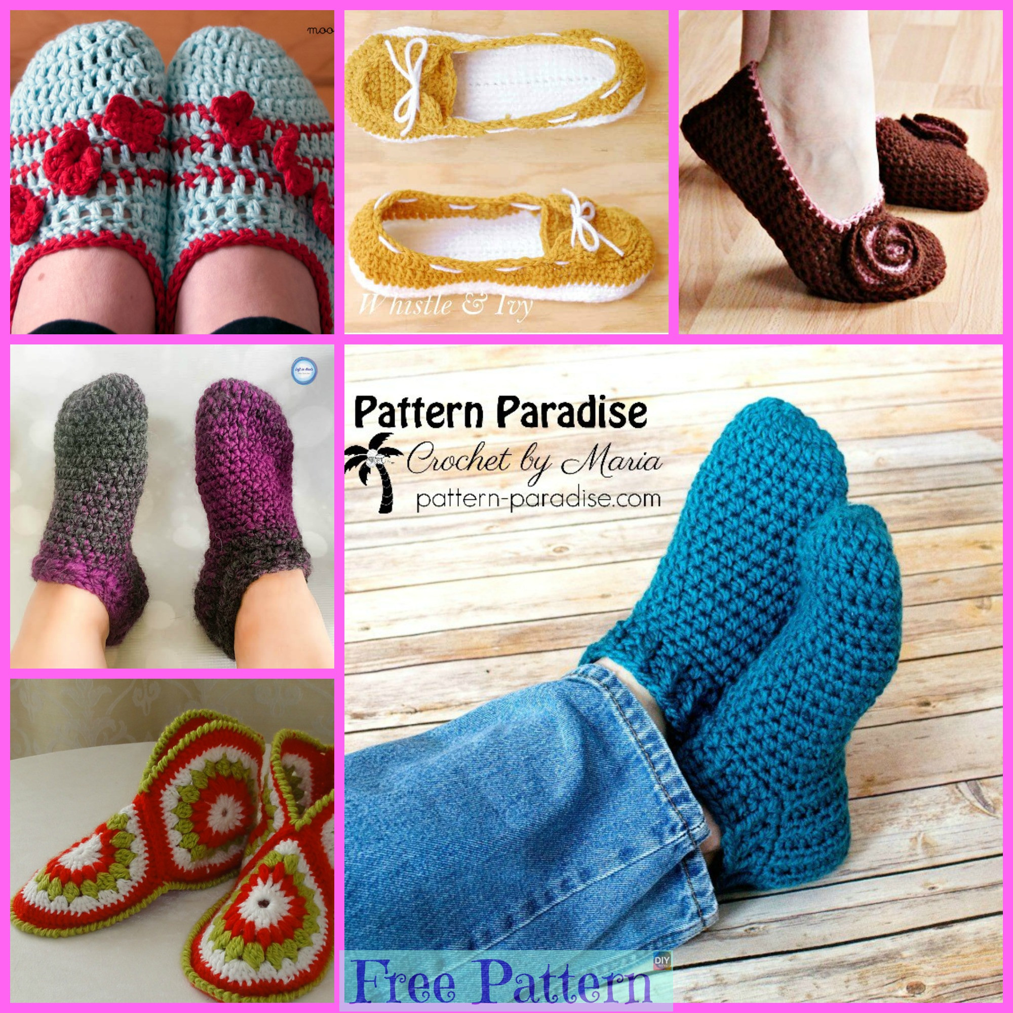 diy4ever-Cozy Crocheted Slippers - Free Pattern