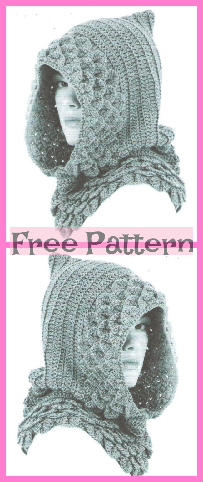 diy4ever-Crochet Crocodile Cowls - Free Patterns