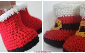 diy4ever-Crochet Santa Baby Booties - Free Pattern