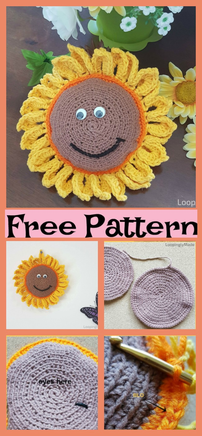 diy4ever -Crochet Sunflower Buddy - Free Pattern