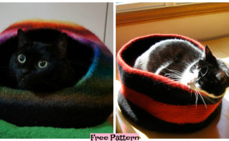 diy4ever-Knit Cozy Kitty Bed - Free Patterns