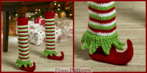 diy4ever-Knit Elf Shoe Table Leg Cover - Free Pattern