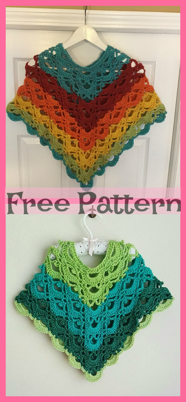 diy4ever-Crochet Child Poncho - Free Pattern