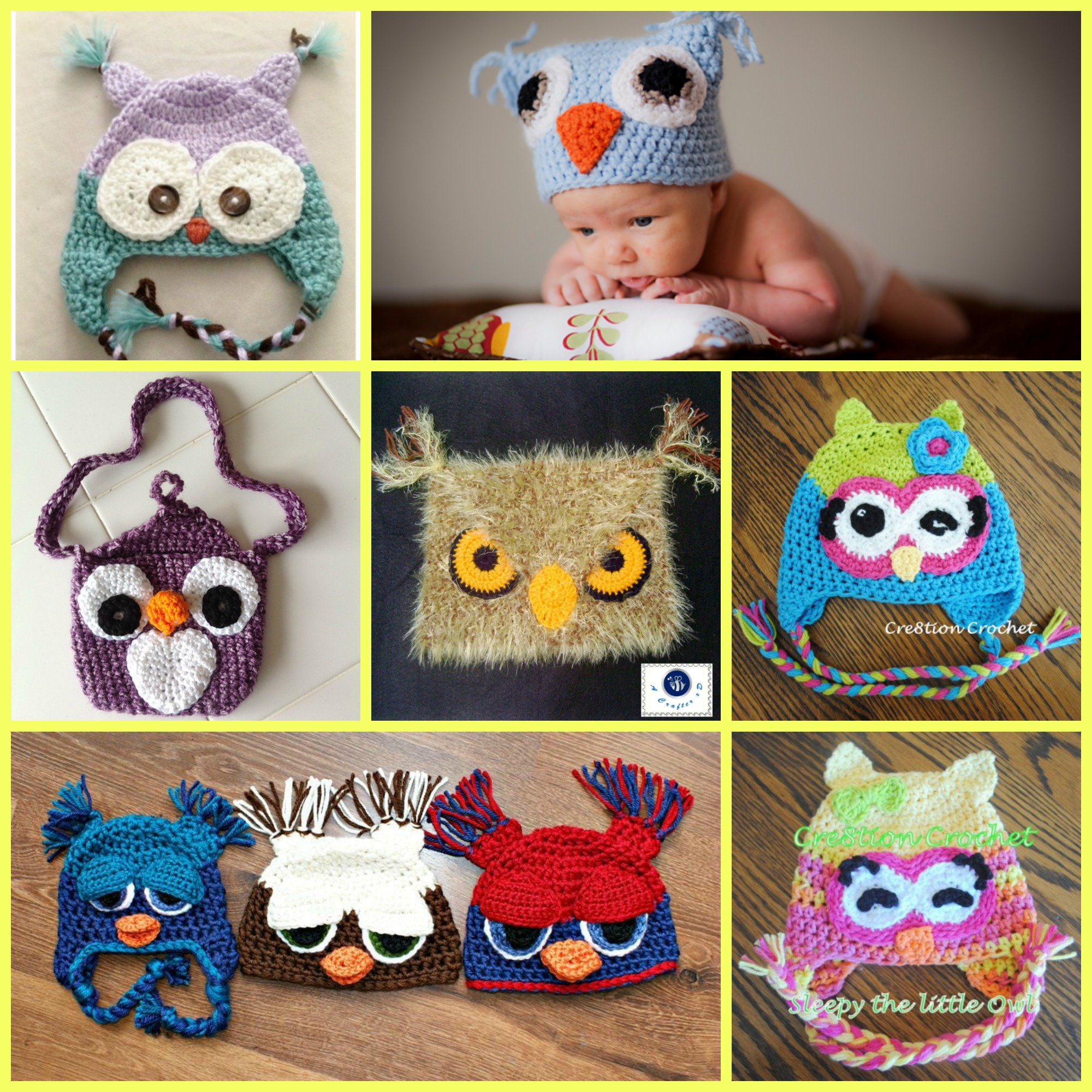 diy4ever-Crochet Cute Owl Hats - Free Patterns