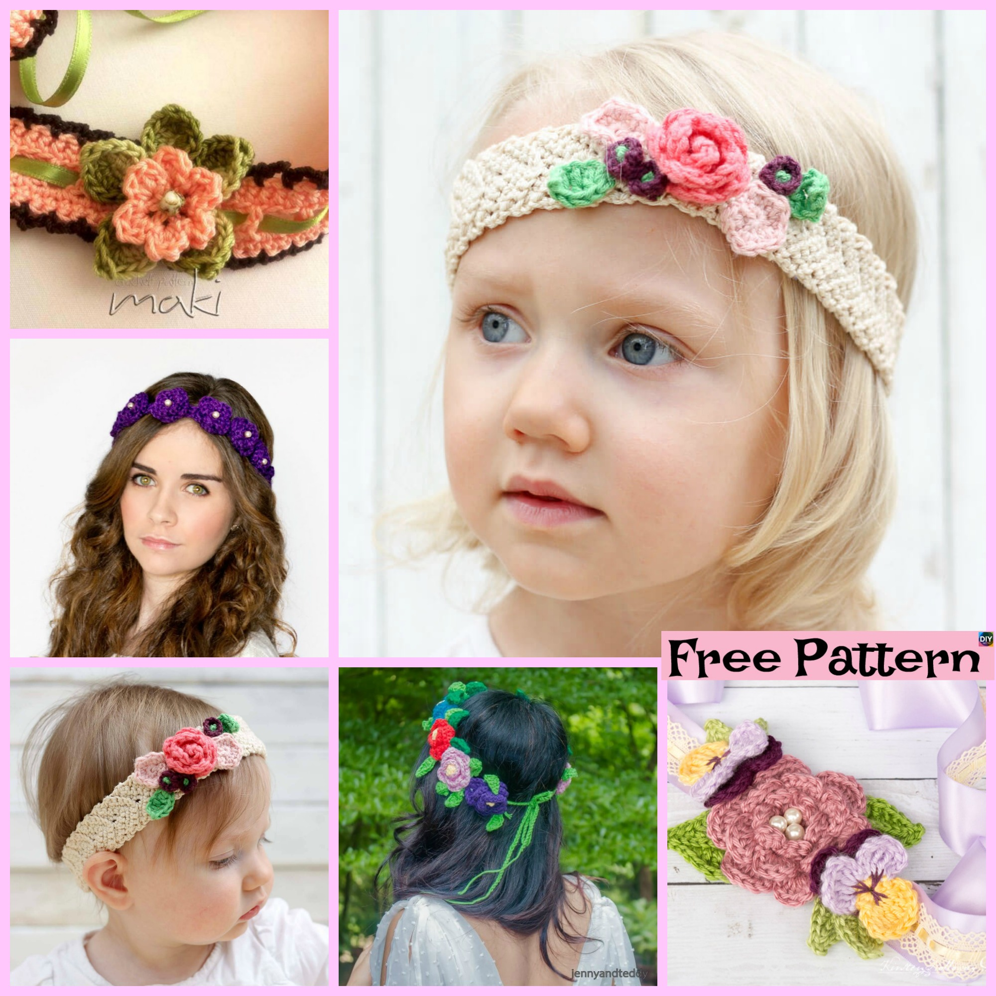diy4ever-Crochet Flower Headband - Free Pattern