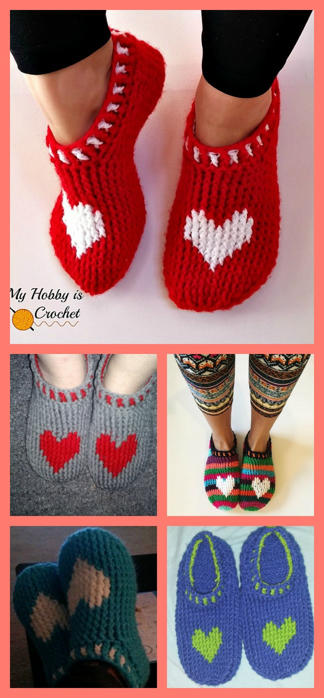 diy4ever-Crochet Heart Slippers - Free Pattern