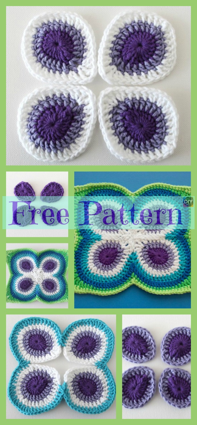 diy4ever-Crochet Peacock Butterfly - Free Pattern