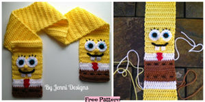 diy4ever-Crochet Spongebob Squarepants Scarf - Free Pattern