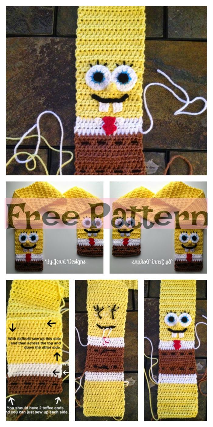 diy4ever-Crochet Spongebob Squarepants Scarf - Free Pattern
