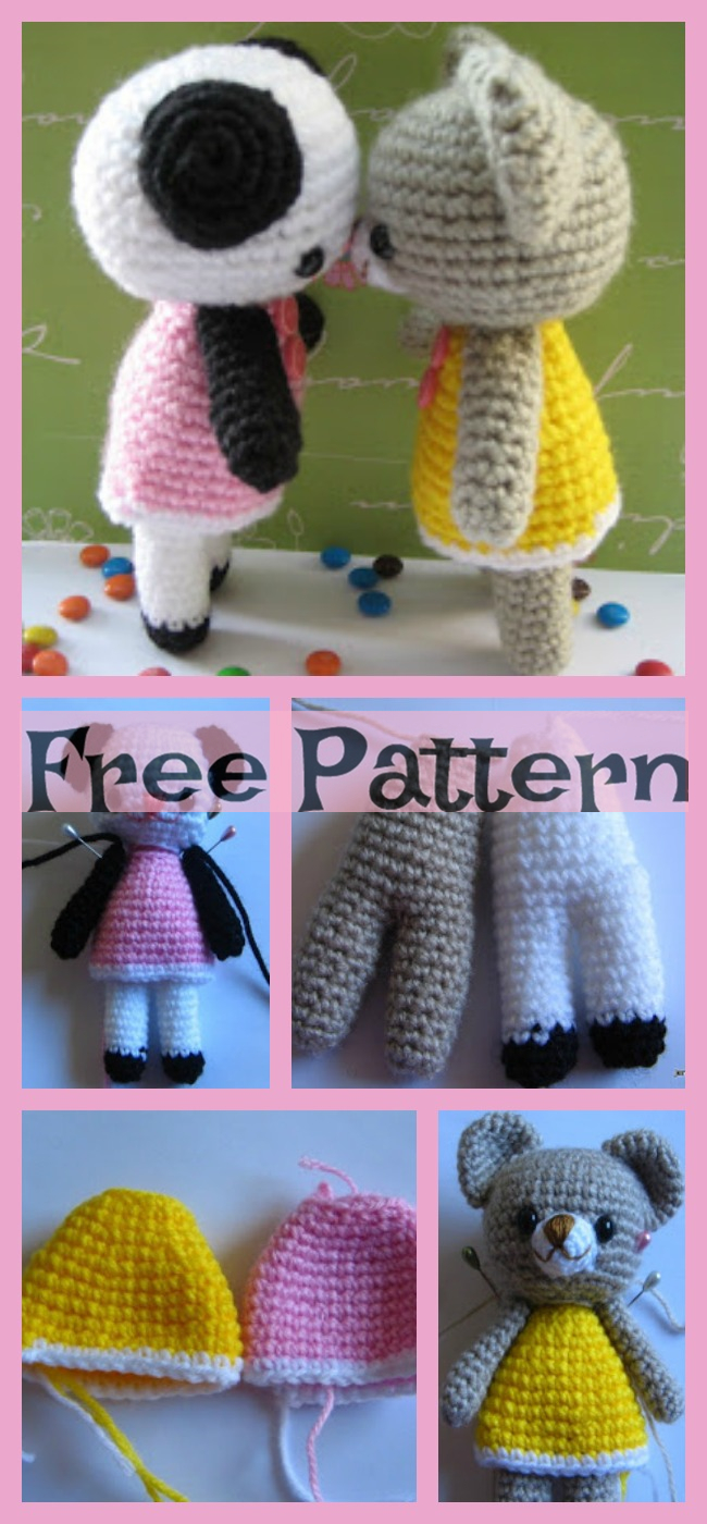 diy4ever-Crochet Two Little Teddy Bears - Free Pattern