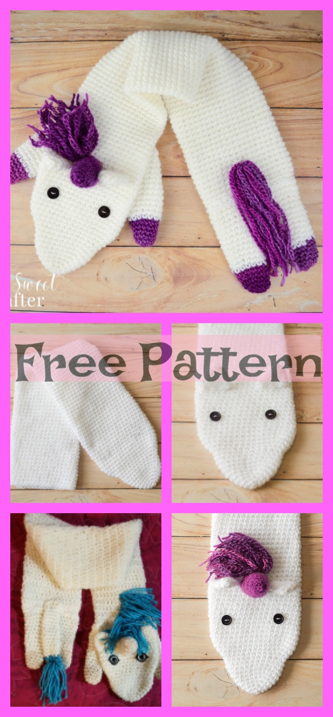 diy4ever-Crochet Unicorn Scarf - Free Pattern