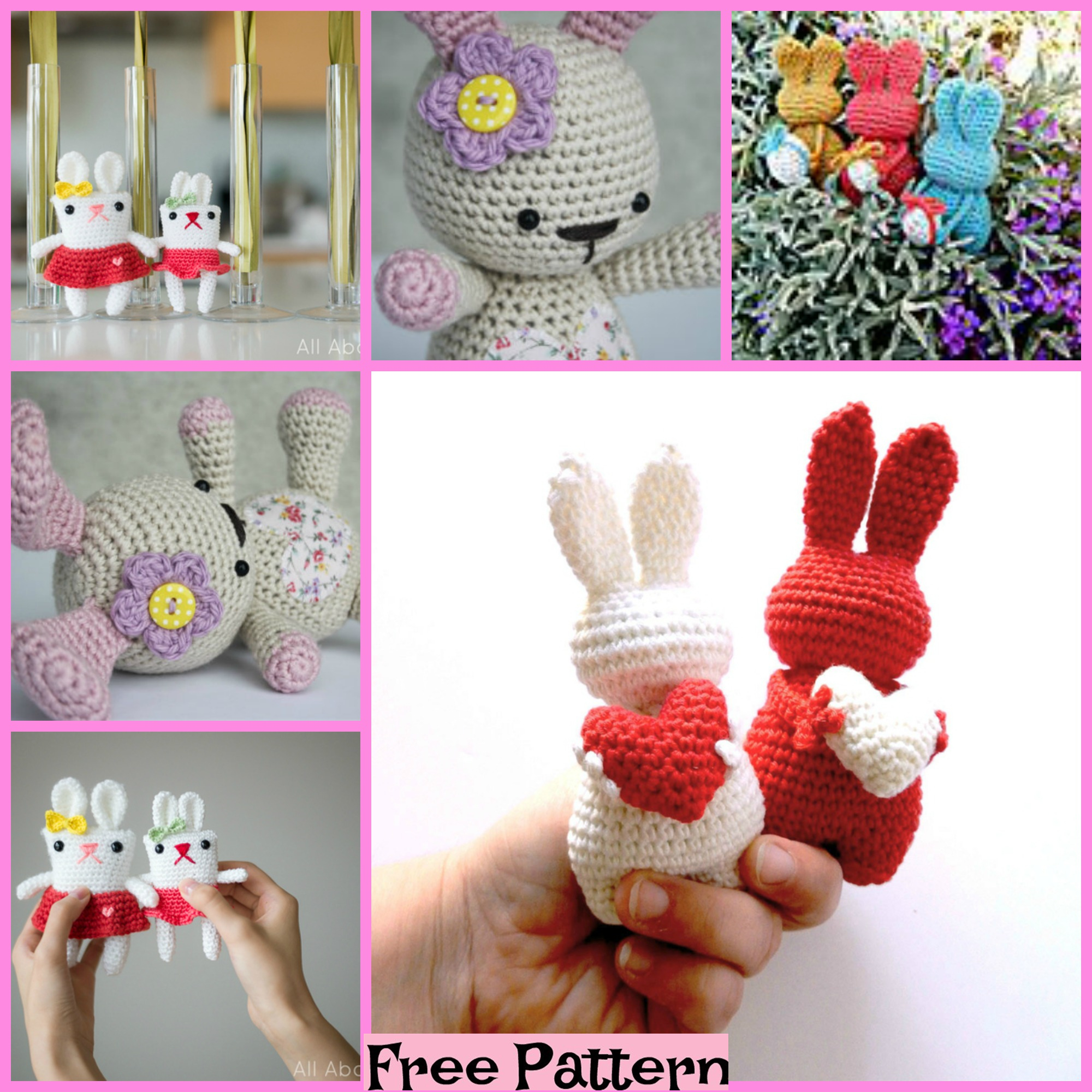 diy4ever-Crochet Valentine Bunny - Free Pattern