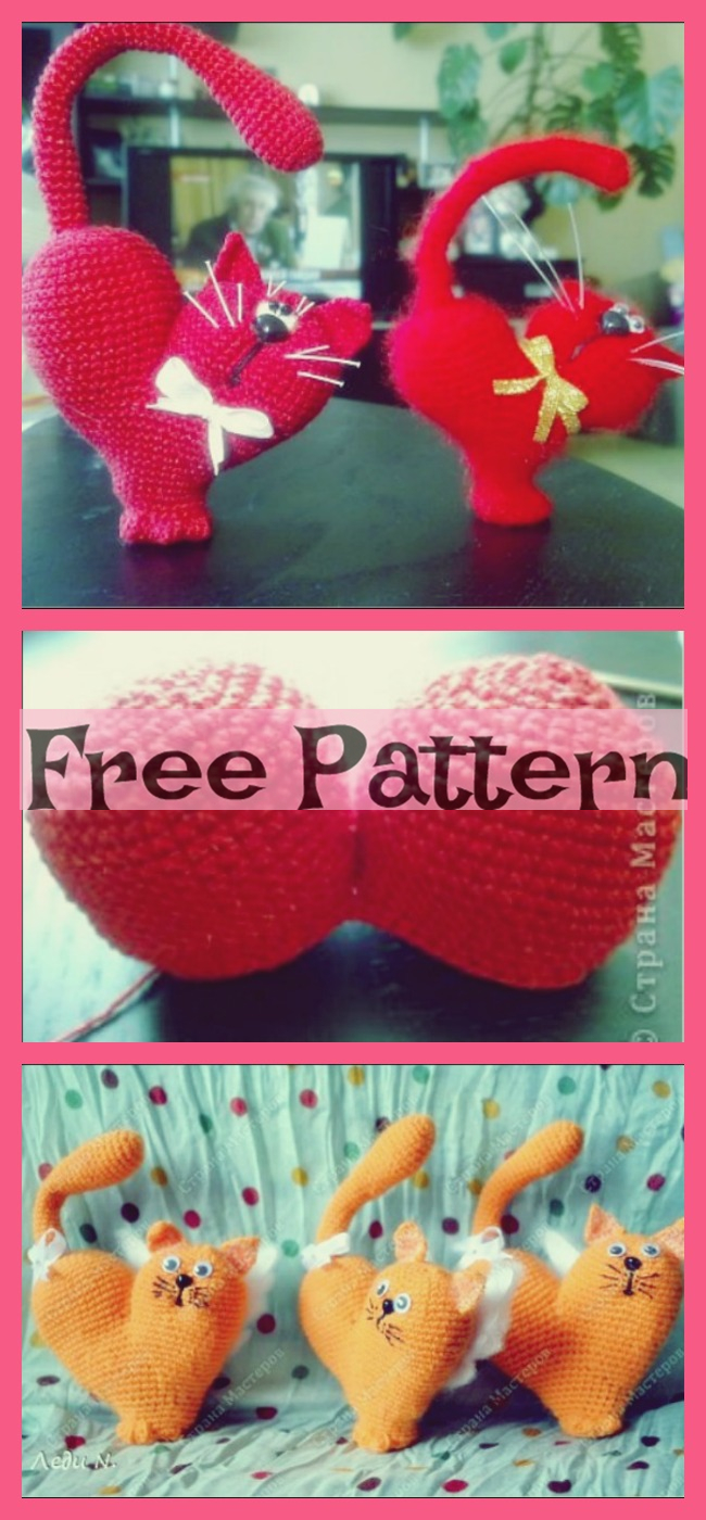 diy4ever-Crochet Valentine Cats - Free Patterns