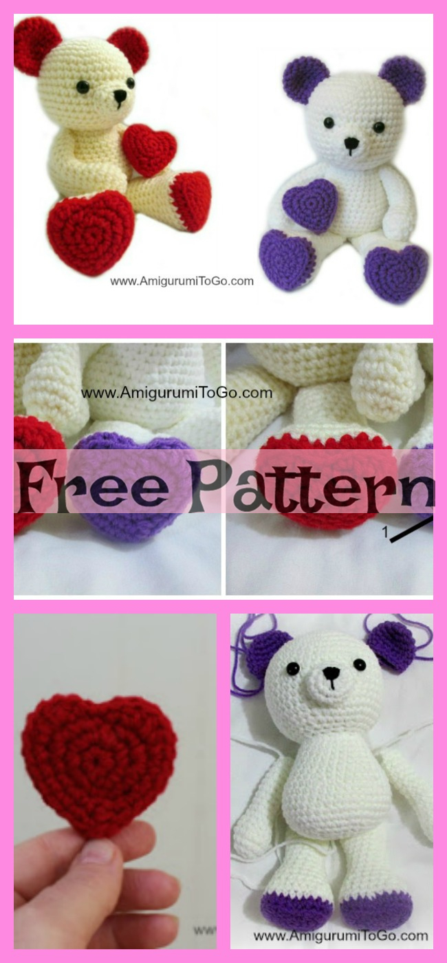 diy4ever-Crochet Valentine Teddy Bears - Free Patterns