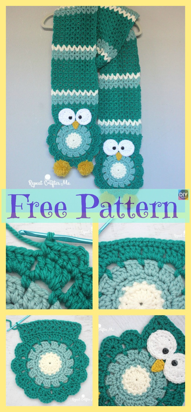 diy4ever- Cute Crocheted Owl Scarf - Free Pattern