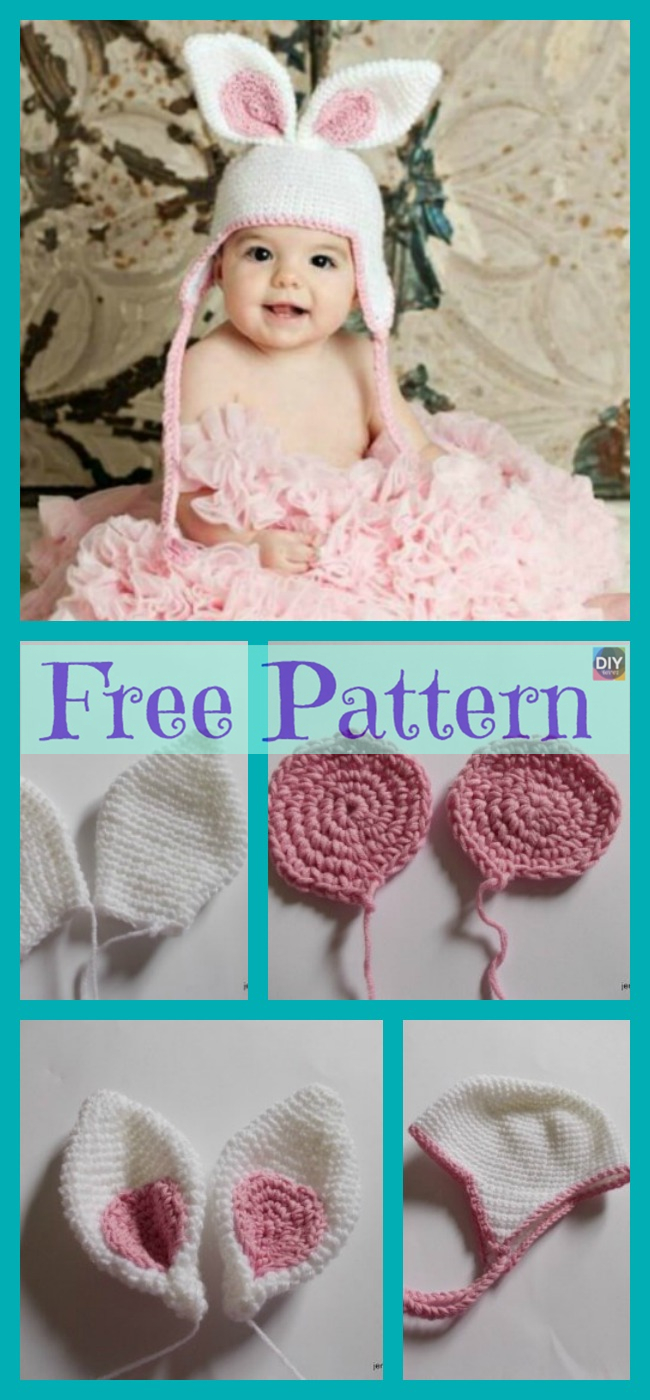 diy4ever-Easter Crochet Bunny Hat - Free Pattern