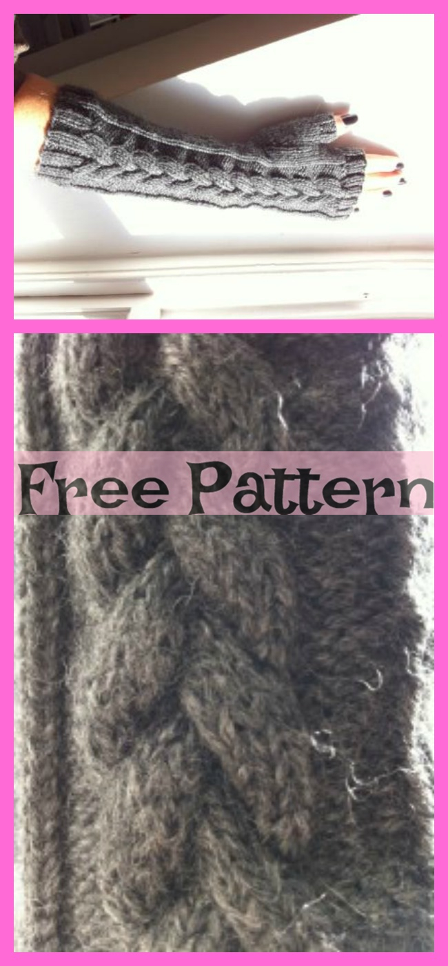 diy4ever-Knit Fingerless Gloves - Free Patterns