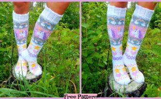 diy4ever-Knit Unicorn Socks - Free Pattern