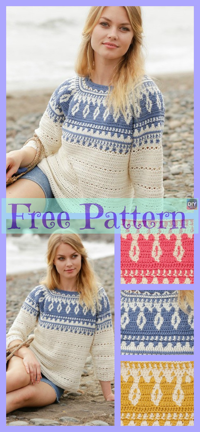 diy4ever-Unique Crochet Round Yoke Top - Free Pattern