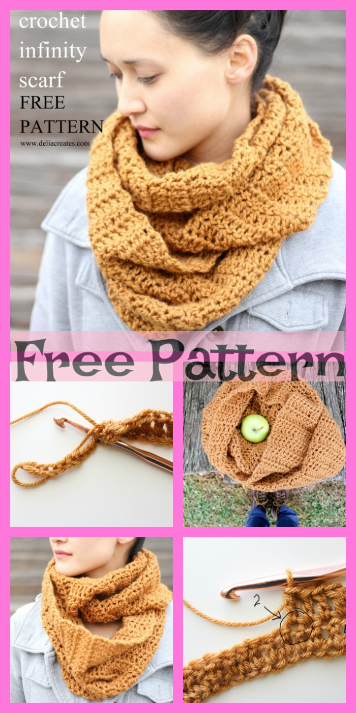 diy4ever-12 Crochet Infinity Scarves - Free Patterns