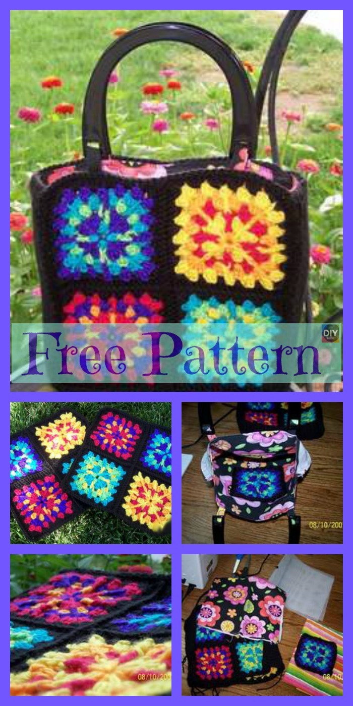 diy4ever-12 Crochet Square Bag Free Patterns