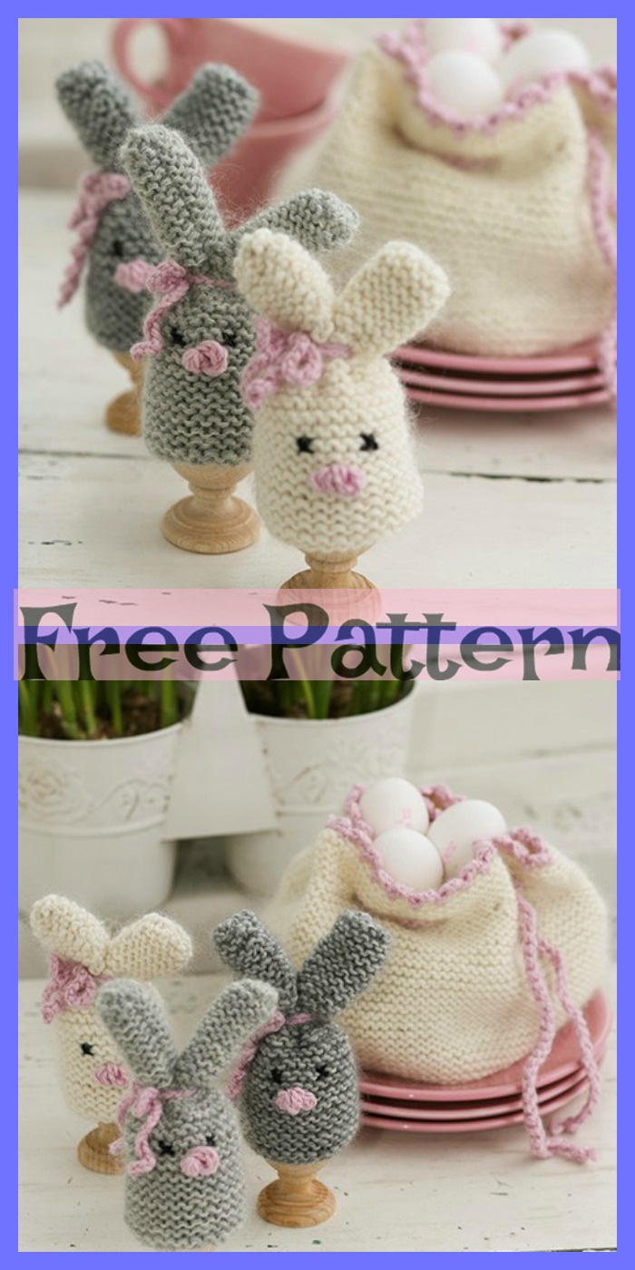 diy4ever-6 knitted Easter Bunnies - Free Patterns