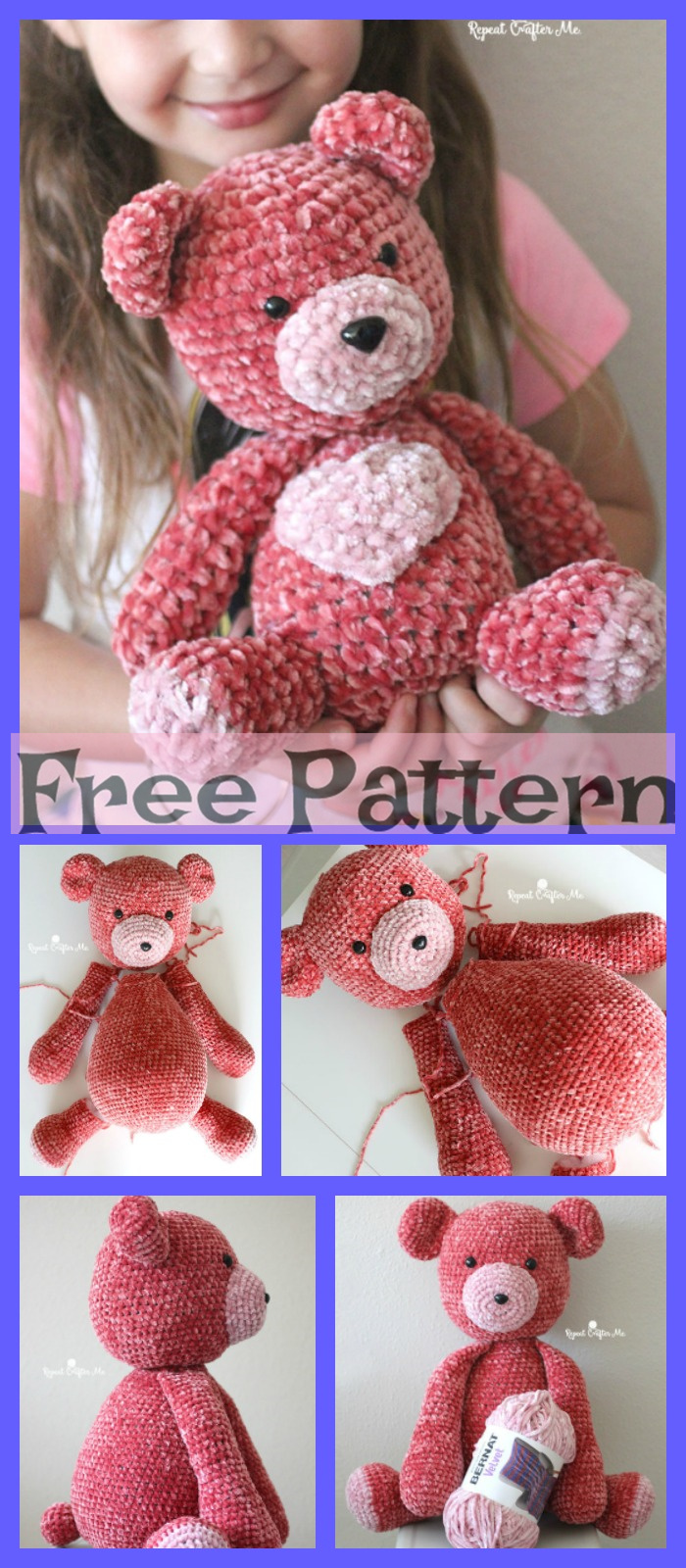 diy4ever-Crochet Big Velvet Bear - Free Patterns