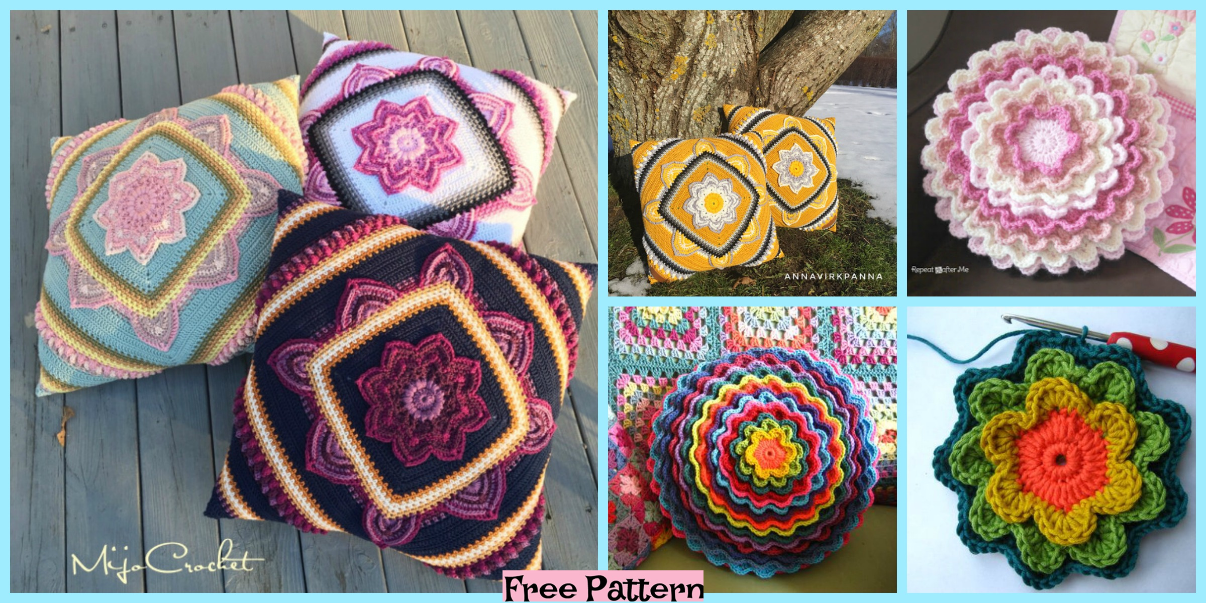 diy4ever-Crochet Bloom Pillow - Free Patterns