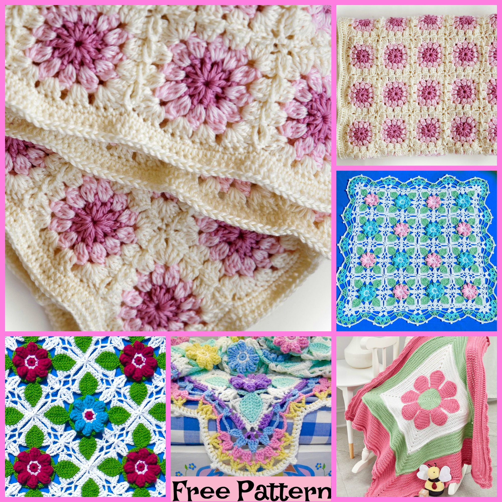 diy4ever-Crochet Bloom Throw Blankets - Free Patterns