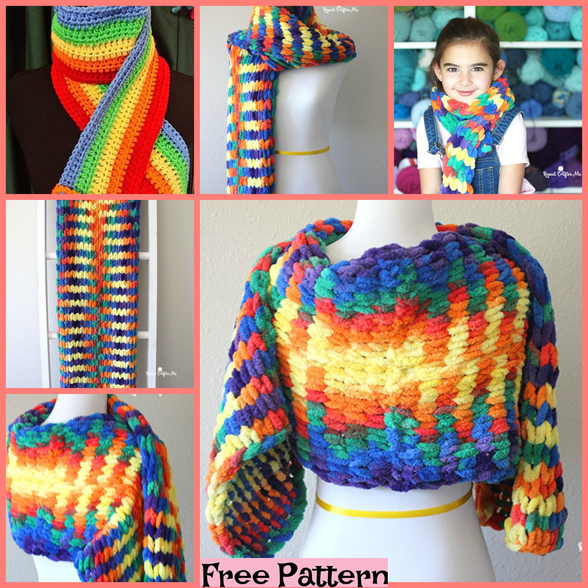 diy4ever-Crochet Bright Rainbow Scarf - Free Patterns