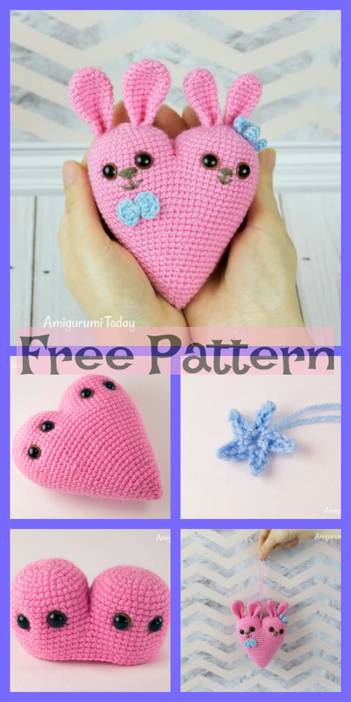 diy4ever-Crochet Bunny Heart Amigurumi - Free Pattern