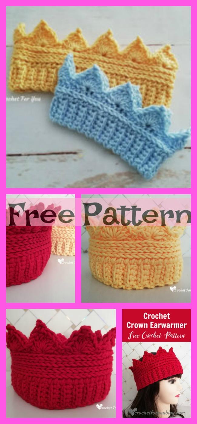 diy4ever-Crochet Crown Ear Warmer - Free Pattern