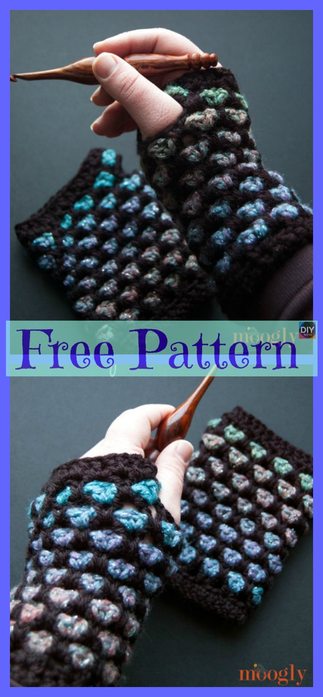 diy4ever-Crochet Fingerless Gloves - Free Patterns