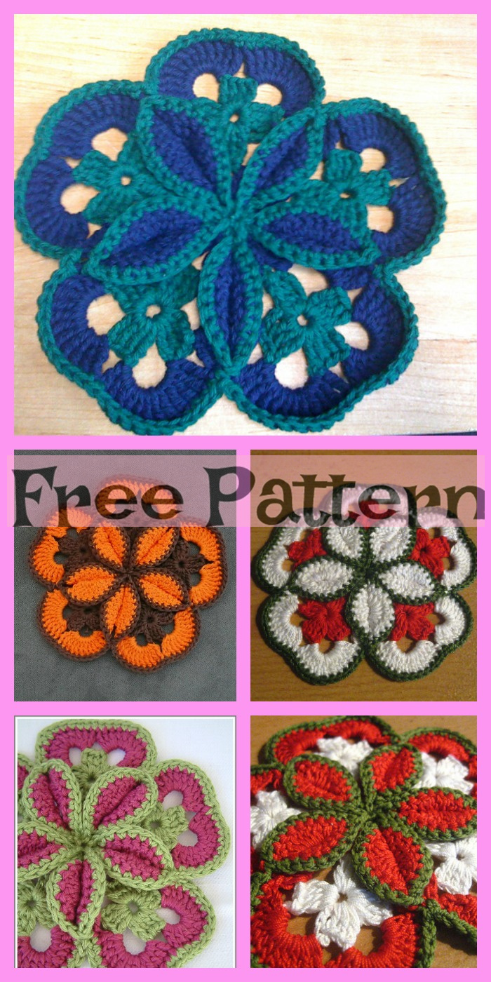 diy4ever-Crochet Flower Hot Pads - Free Patterns