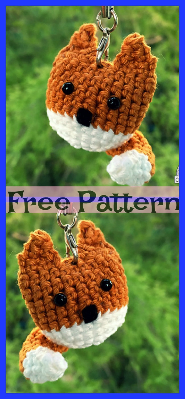diy4ever-Crochet Keychain Fox - Free Pattern