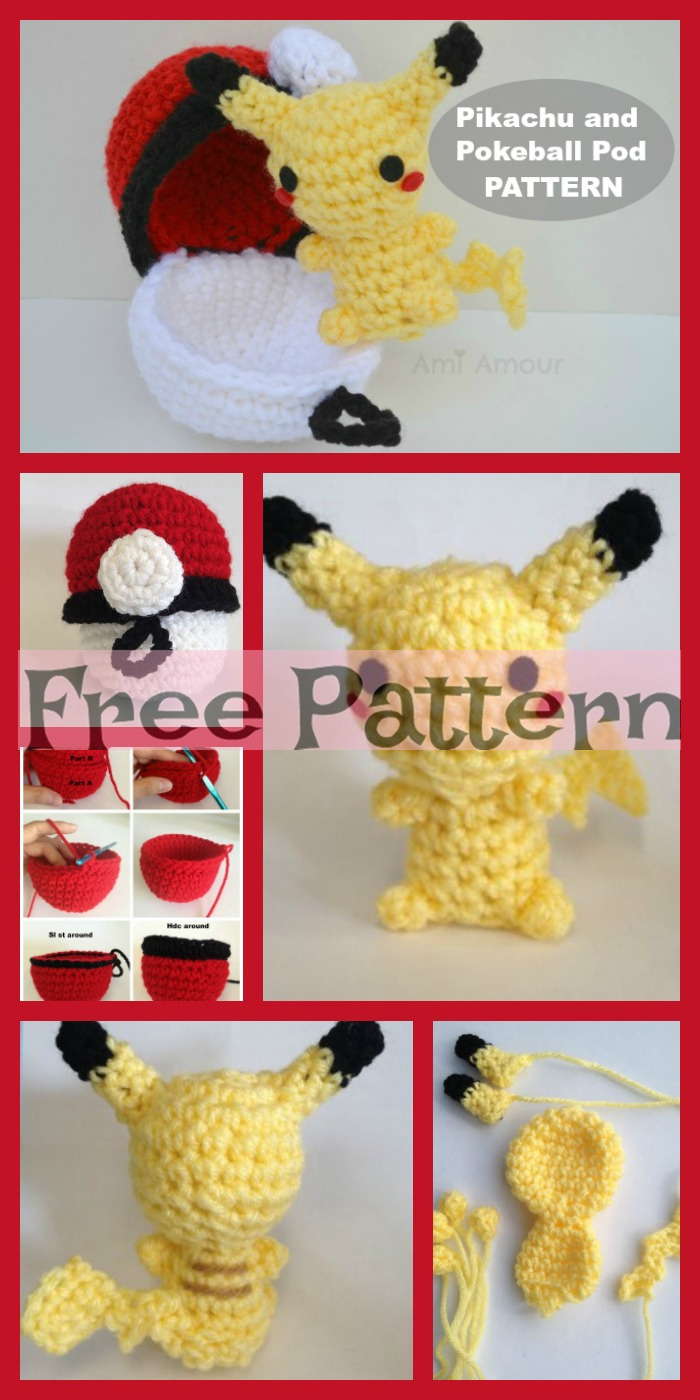 diy4ever-Crochet Pikachu & Pokeball Pod - Free Pattern
