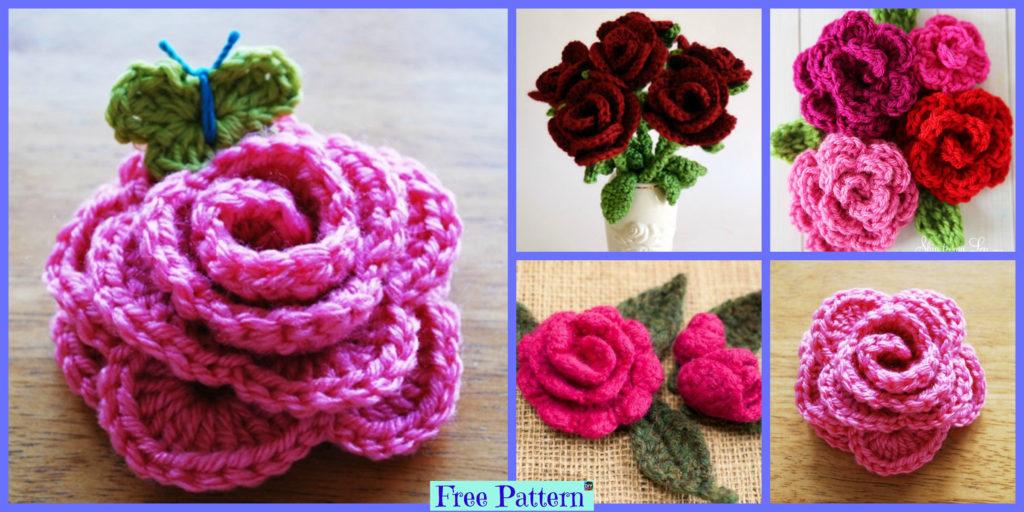 Crochet Rose Flowers Free Patterns Diy 4 Ever