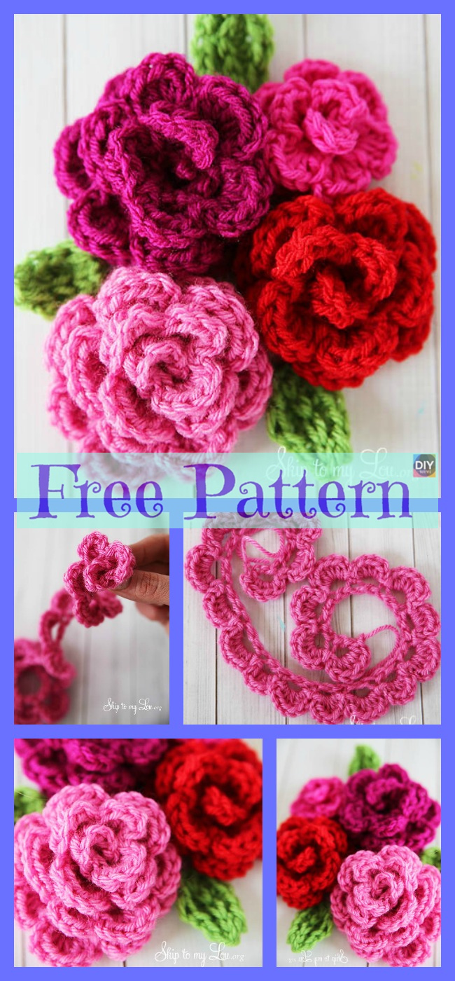 diy4ever-Crochet Rose Flowers - Free Patterns