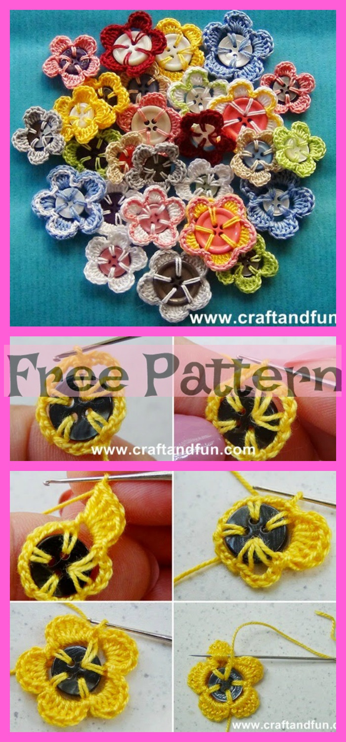 diy4ever-12 Crocheted Flowers - Free Patterns