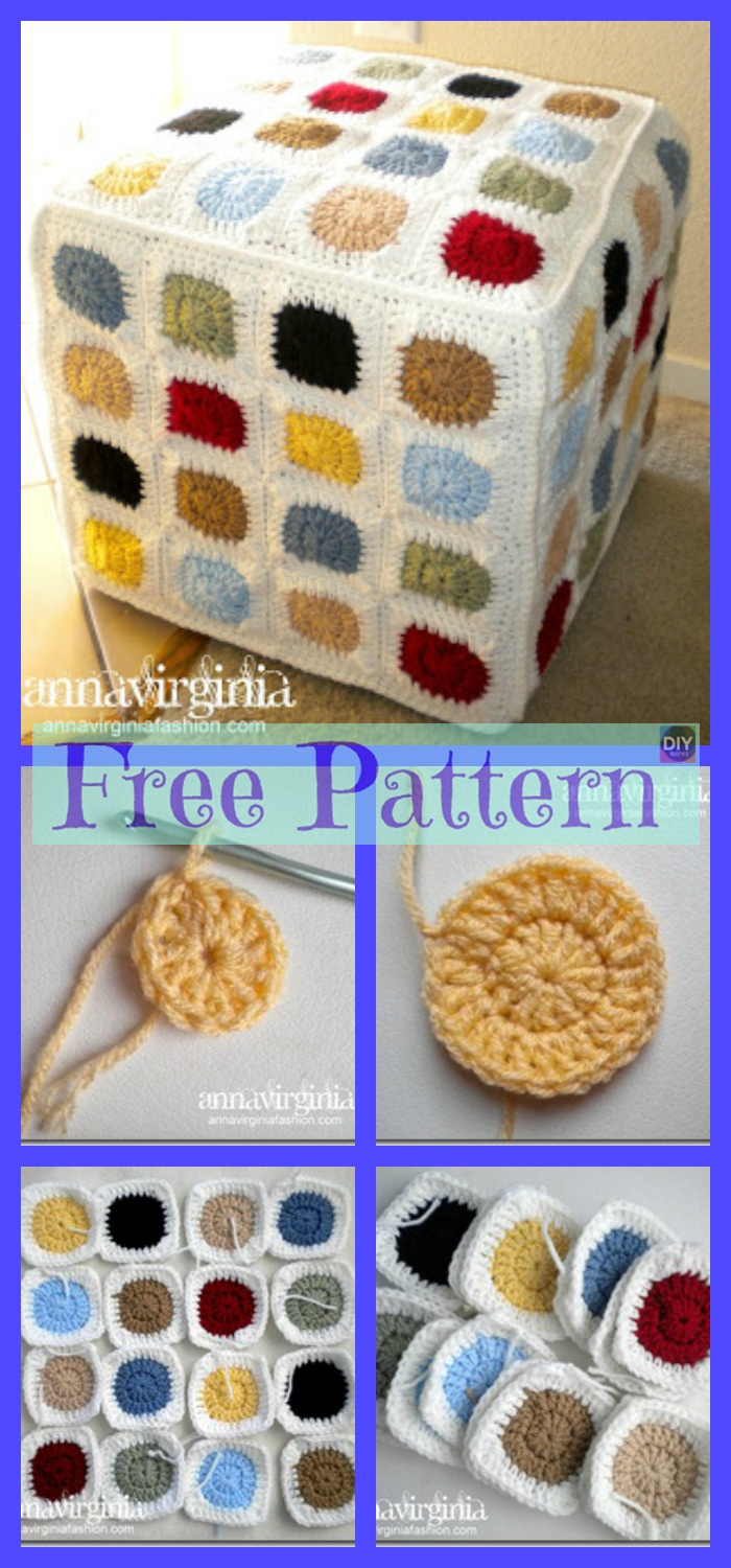 diy4ever-8 Crochet Colorful Pouf Free Patterns