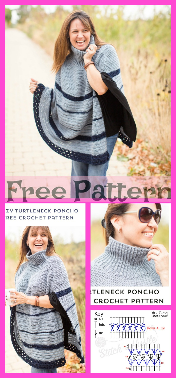 diy4ever- 8 Crochet Uptown Poncho Free Patterns