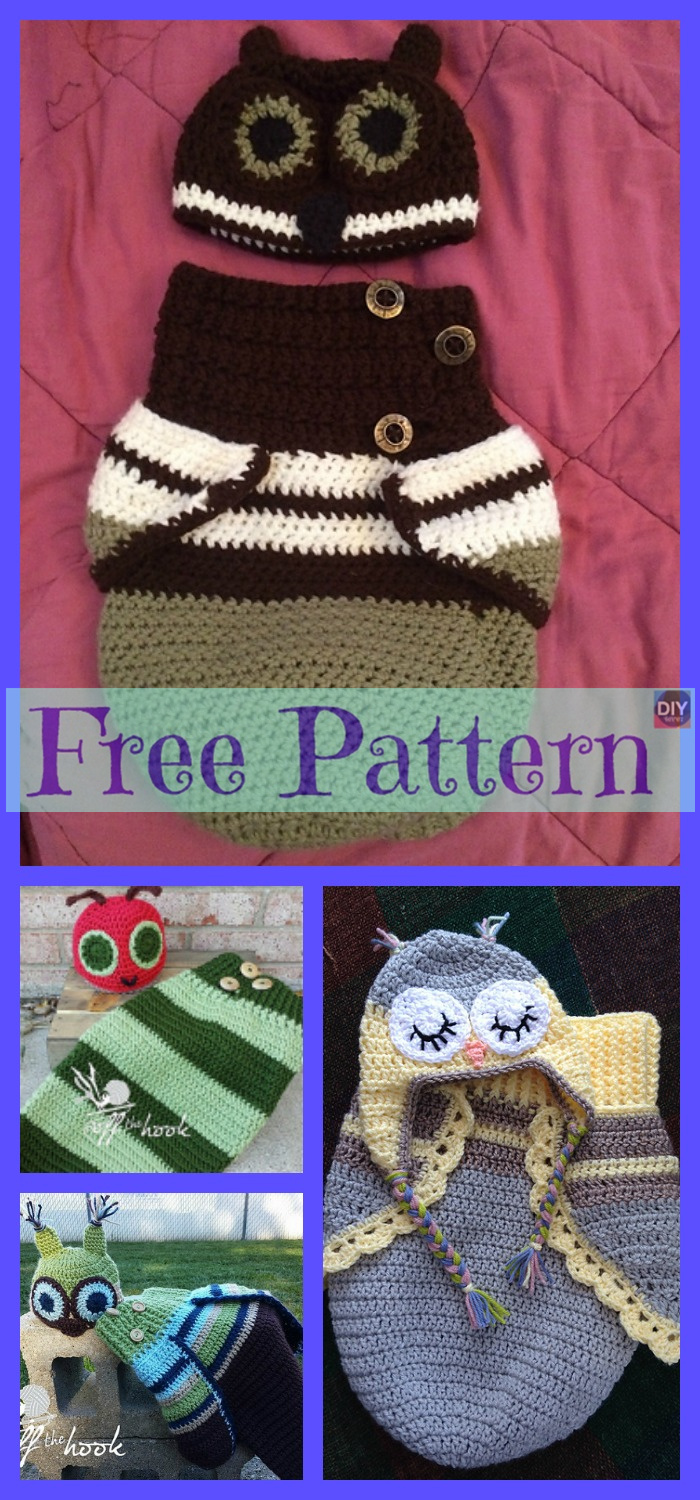 diy4ever-Crochet Baby Owl Cocoon & Hat - Free Patterns